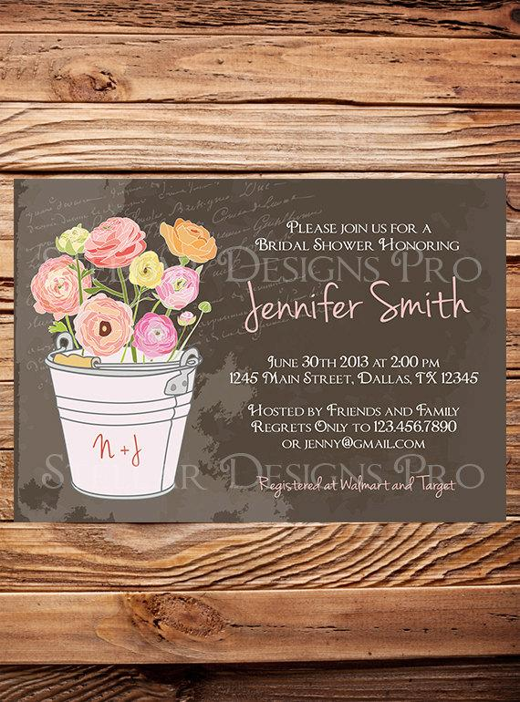 Свадьба - Chalkboard Garden Bridal Shower Invitation,Vintage Garden Shower, Brown, Neutral, Blue, Green, Purple, Wedding Shower Invitation - Item 1160