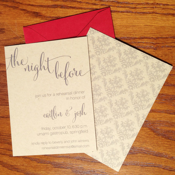 Wedding - Wedding Rehearsal Dinner Invitations, Rustic Rehearsal Dinner Invites,  Casual dinner rehearsal invitations, The Night Before the Big Day