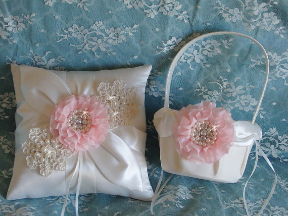 de9975c0dd Ivory Victorian Blush Wedding Flower Girl Basket And Pillow Set ...