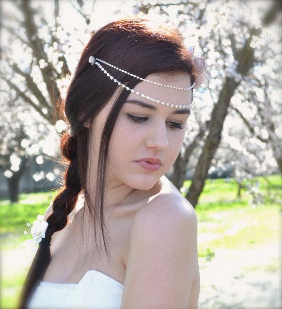 Bridal Hair Accessories Boho : Rhinestone bridal hair chains draping crystals double forehead