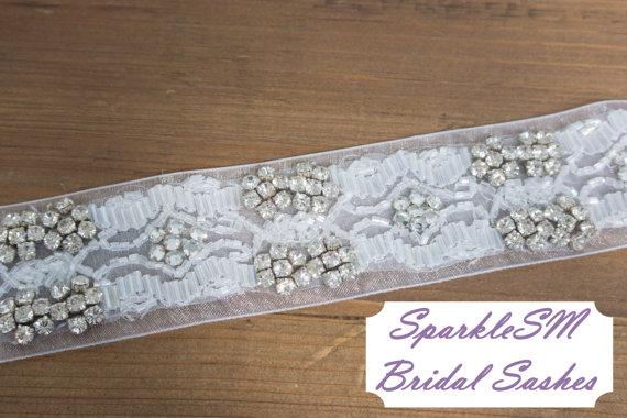 Mariage - Rhinestone Crystal Bridal Belt, Jeweled Belt, Rhinestone Sash, Wedding Belt, Bridal Accessories, Decorative Sash, Decorative Belt - Emmaline