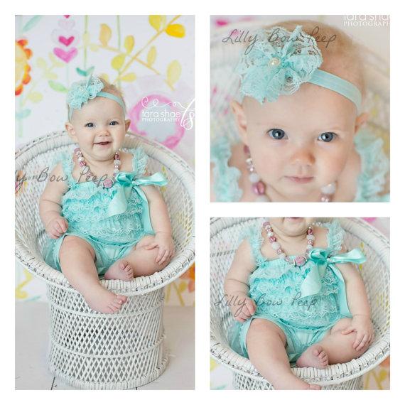ada92308c Flower Girl Dress & Headband SET-Blue Aqua Lace Petti Romper-Baby Girl  Clothes-Preemie-Newborn Girl Clothes-Infant-Child-Baptism-Wedding