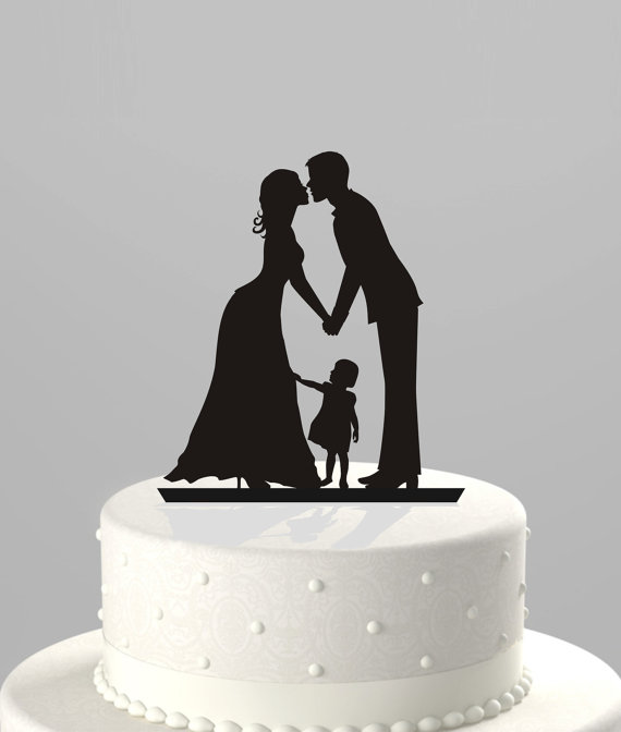 Wedding Cake Topper Silhouette Groom And Bride With Little Girl