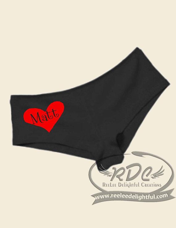 Свадьба - Custom Valentine Undies for her, Christmas for Him, name in heart, bridal shower, new bride
