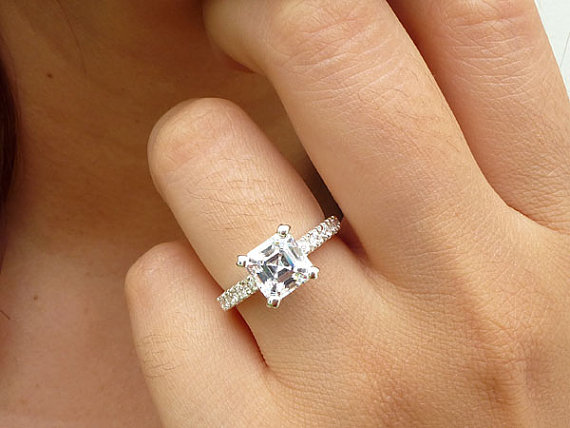Sterling Silver Engagement Ring Asscher Cut Engagement Ring 7mm Asscher C