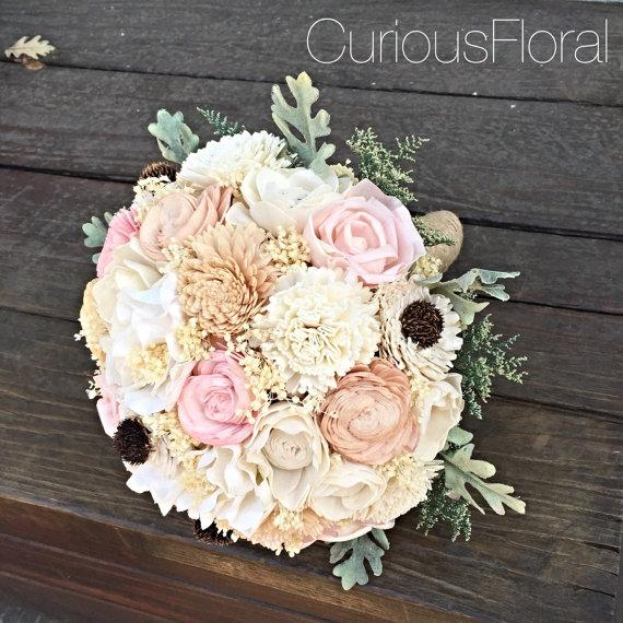 Свадьба - Ready to Ship! Alternative Bridal Bouquet, Sola Flowers, Peach and Mint Wedding Bouquet, Dusty Miller, Winter Wedding, Spring, Woodland