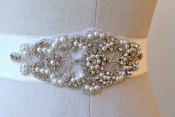 Hochzeit - Bridal beaded crystal pearl sash.  Embellished rhinestone applique wedding belt.  LEAH