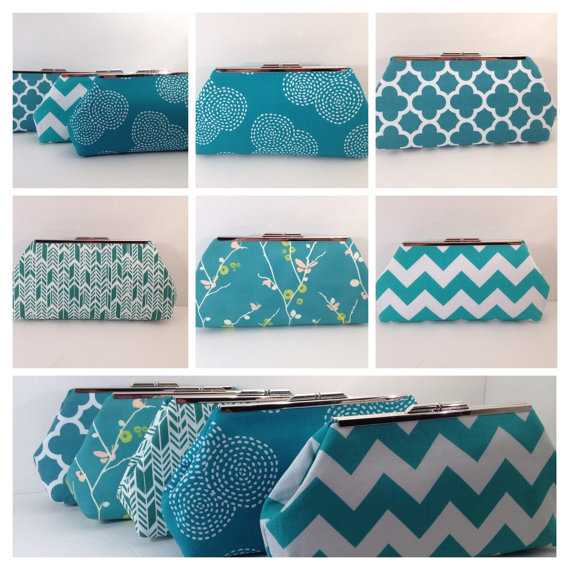 Свадьба - Multiple Clutch Discount for Teal and White Clutch Purses with Nickel/Silver Finish Frame, Bridesmaid Clutch, Purse, Wedding