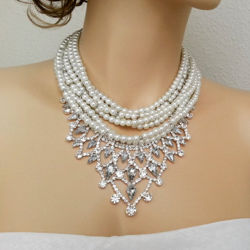Свадьба - Crystal Pearl Bridal Necklace, Art Deco Statement Necklace, Ivory Wedding Necklace, Old Hollywood Jewelry, ARCENE