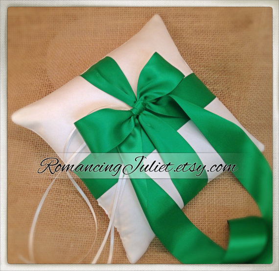 Mariage - Romantic Satin Ring Bearer Pillow...You Choose the Colors...Buy One Get One Half Off..shown in white/emerald green
