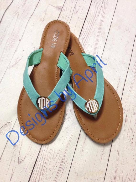 Mariage - Ladies Monogrammed Sandals - Thong shoes, Flip Flops, Monogrammed, Wedding