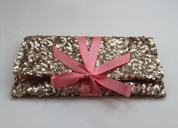 Gold Sequins Clutch With Light Pink Blush Bow Sparkle Glitter Envelope Slim Wedding Bag Custom Colors