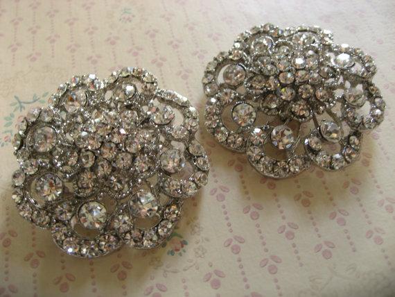 Mariage - Garden rose round wedding Swarovski rhinestone crystal bridal bridesmaids shoes clips