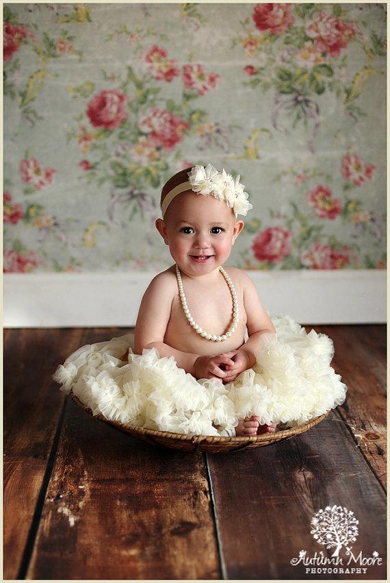 Ivory Shabby Baby Headband- Baby Headband - Choose 10 colors - Lace Headband  - Girls Headband- Flower Girl - Wedding 2025bb1ee56