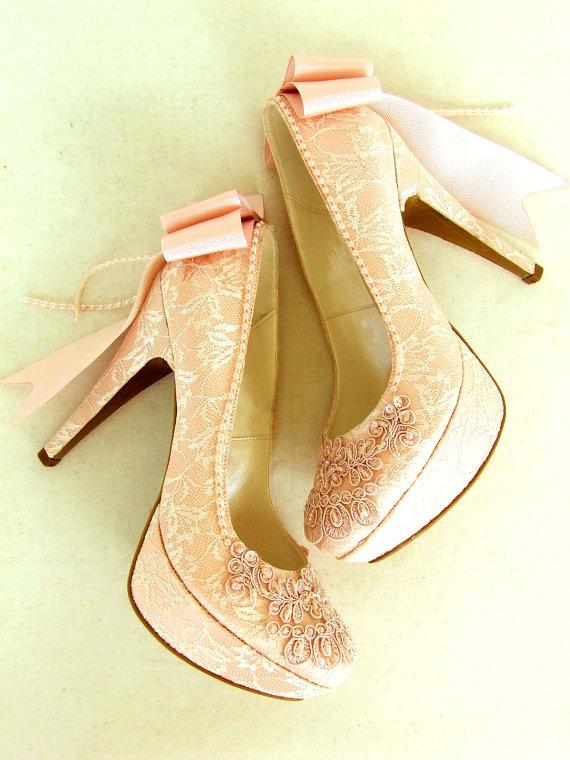 Свадьба - Blush Lace Wedding Shoes with Bows