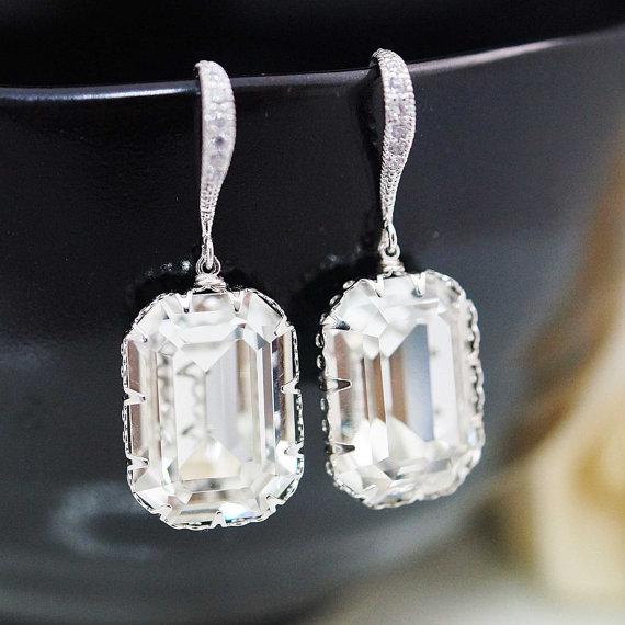 Mariage - Wedding Bridal Jewelry Bridal Earrings Bridesmaid Earrings Cubic Zirconia Ear wires and Swarovski Crystal Rectangle drops dangle earrings