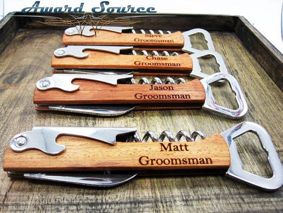 Свадьба - 7 Groomsmen Wine Bottle Openers - Free Engraving