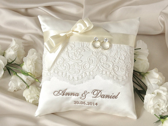 Lace Wedding Pillow Ring Bearer Pillow Embroidery Names 2231531