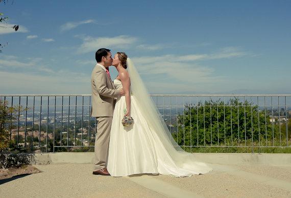 Wedding - 90 inches Single tier chapel length bridal veil, wedding veil, chapel veil