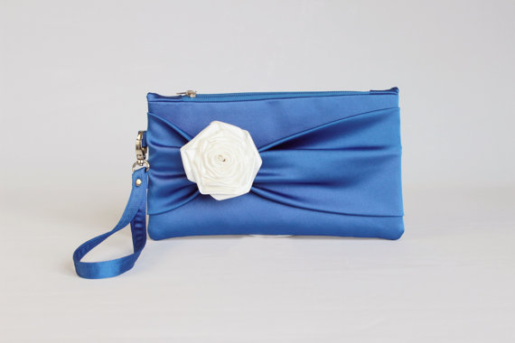 1408dab446 PROMOTIONAL SALE -Bow wristelt clutch,bridesmaid gift ,wedding gift ,make  up bag,cosmetic bag,camera bag,zipper pouch, in royal blue