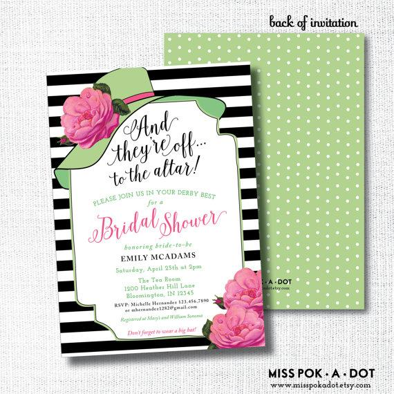 Kentucky derby bridal shower invitation theyre off to the altar kentucky derby bridal shower invitation theyre off to the altar big hat brunch wedding shower bright pink and green filmwisefo