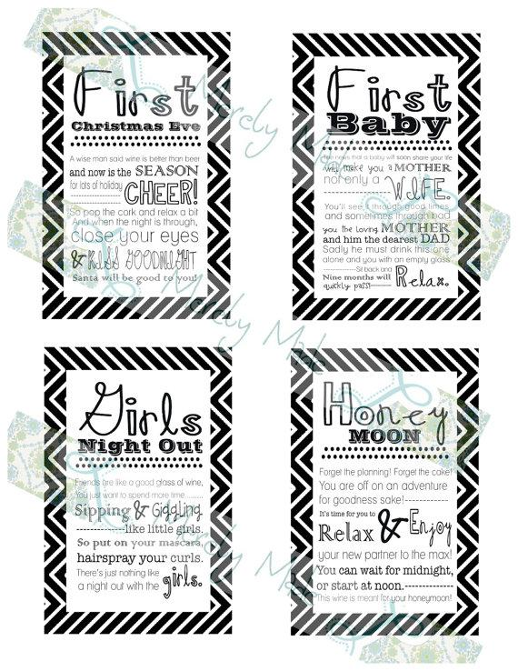 Wedding Gift Wine Tags Printable : Wedding - Set of 12- Bridal Shower Wine Basket Gift Tags -Black ...