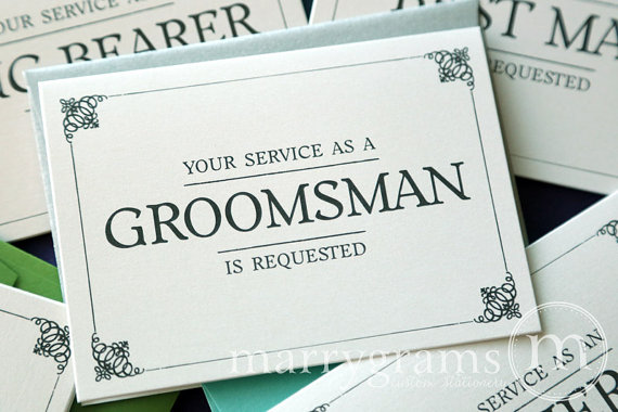 Свадьба - Groomsman Service is Requested Card, Best Man, Usher, Ring Bearer- Simple Wedding Cards for Guys to Ask Groomsmen, Bridal Party (Set of 6)