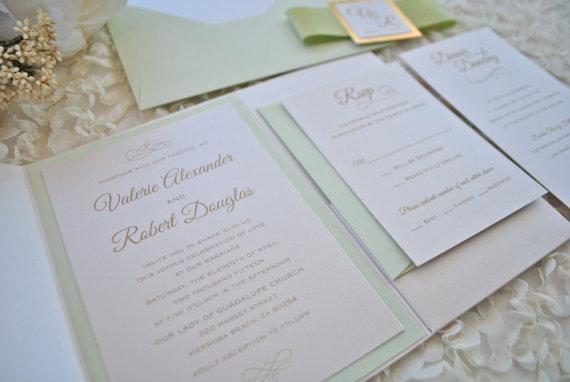 Hochzeit - Classy Light Green and Ivory Pocket Wedding Invitation