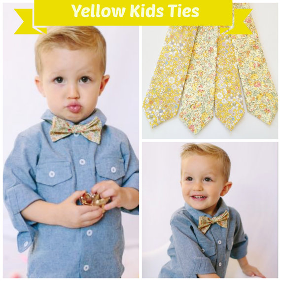 Свадьба - Yellow Kids Bow Tie, Liberty of London Bow Tie, yellow children's tie, little boys bow tie, mustard, toddler bow tie, ring bearer bow tie