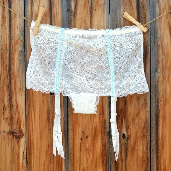 Свадьба - Sexy Something Blue Garter Undie Says Mrs. in Blue stones or Silver - Bridal Underwear, Panty, Garter Belt Size Medium - Ships in 24 hrs