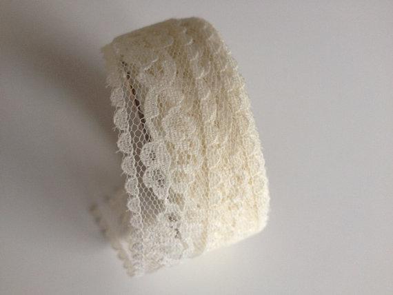 Hochzeit - Sheer Ivory Lace Ribbon 1 inch x 9 feet