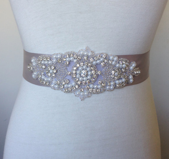 Rhinestone belt silver sash bride sash bridal sash wedding for Rhinestone sashes for wedding dresses