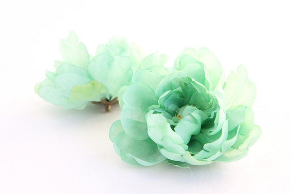 Mint Green Peony - 4 Inches - Silk Flowers, Silk Flower ...
