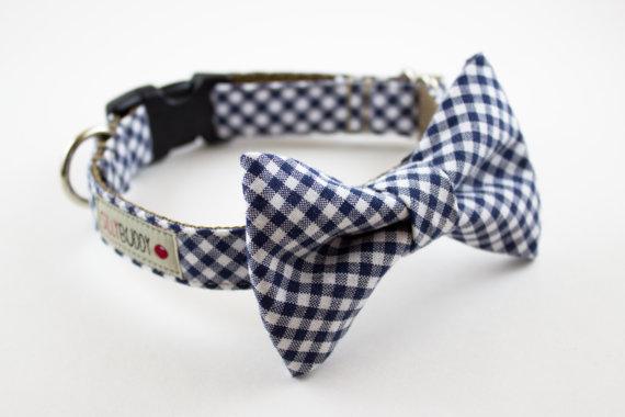 Свадьба - Navy Blue Gingham Bow Tie Dog Collar