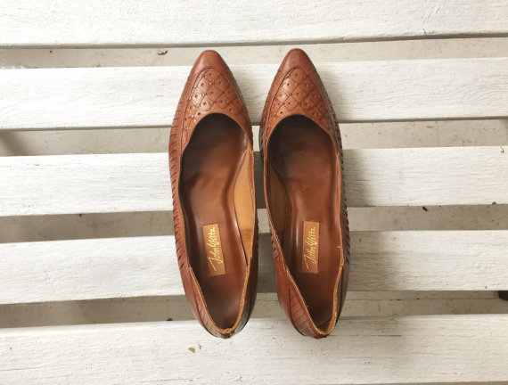 Vintage Brown Leather Heels, Woven Leather Cut Out Kitten Heels ...