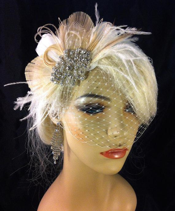 Mariage - Bridal Feather Fascinator with Brooch, Bridal Fascinator, Wedding Hair Accessories, Fascinator, Hair Clip, Bridal Veil, Birdcage Veil, Ivory