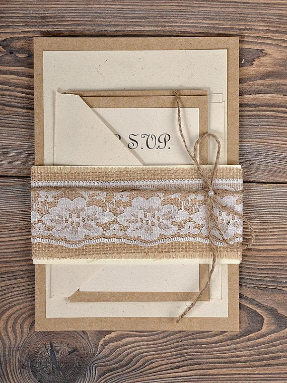 Свадьба - Custom listing (100) Burlap Lace Wedding Invitation, Country Wedding Invitation, Rustic Wedding  Invitation, Shabby Chic Invitation
