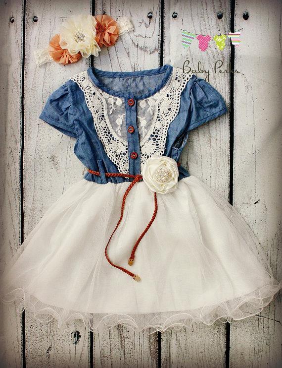 Vintage Wedding Dress - Vintage Dress - Girls Denim Dress #2231590 ...