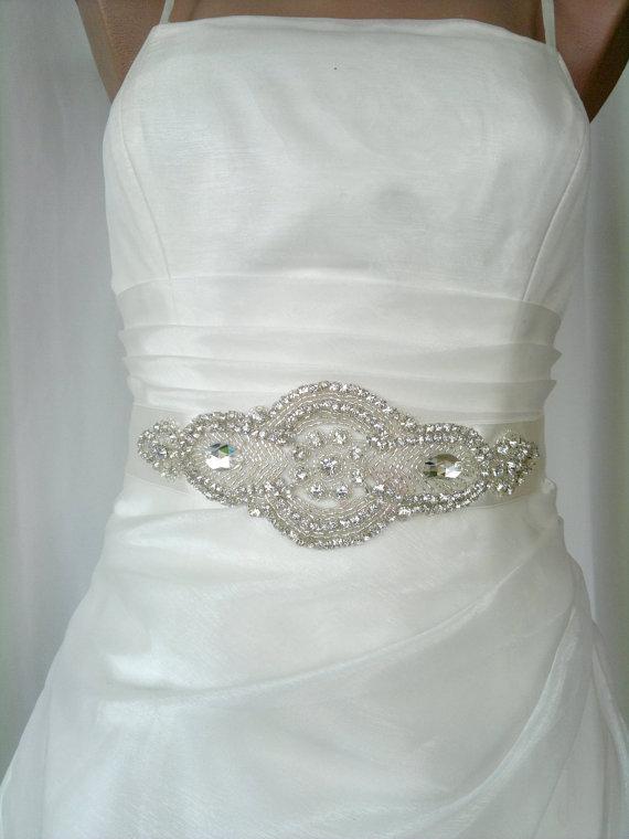 Mariage - Elegant Rhinestone Royal Beaded Ivory Wedding Dress Sash Belt