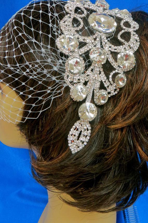 Mariage - Bridal Comb And Veil,Wedding Comb and Veil, Bridal Comb With Veil,Rhinestone Comb And Veil,  Bridal Rhinestone Veil, Rhinestone Bandeau Veil