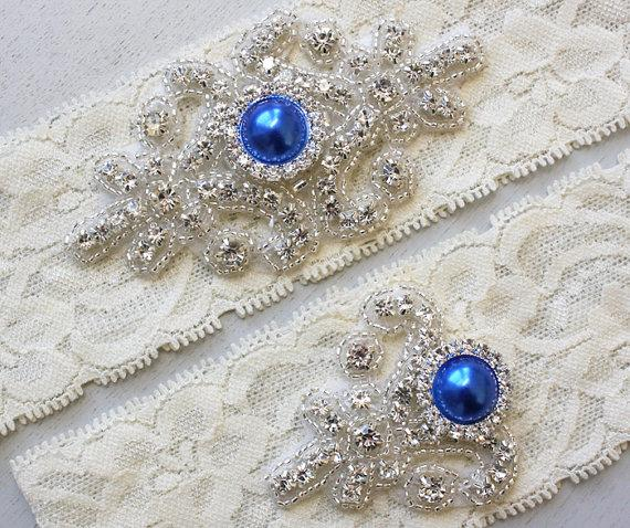 RACHEL II - Royal Blue Pearl Wedding Garter Set, Vintage Ivory ...
