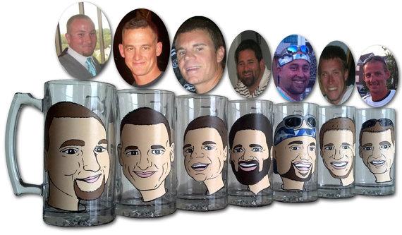 Custom Portrait Cartoon Style Glass Beer Mugs   Groomsmen Mugs!    Hand Painted And Cured Pint Glass   Barware