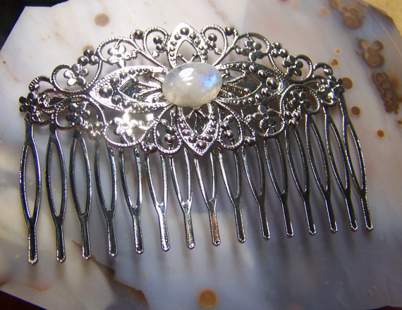 Mariage - Rainbow Moonstone Hair Comb Filligree in Silver - wedding hair accessory - gemstone wedding bridal hair piece tiara ruby - stone cabochon