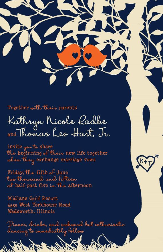 Rush Love Bird Wedding Invitations Navy Blue And Orange Tree Invitation Birds In A Custom Listing For Kradke5938