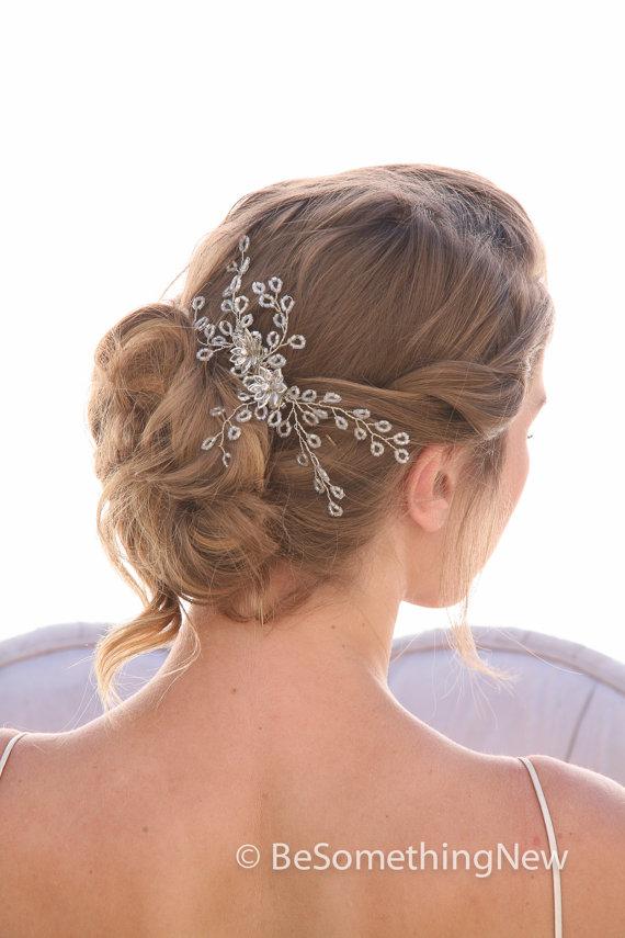 Wedding - Spray of Beads Wedding Hair Comb, Wedding Headpiece, Beaded Bridal Comb Rhinestone and Crystal Hair Accessory
