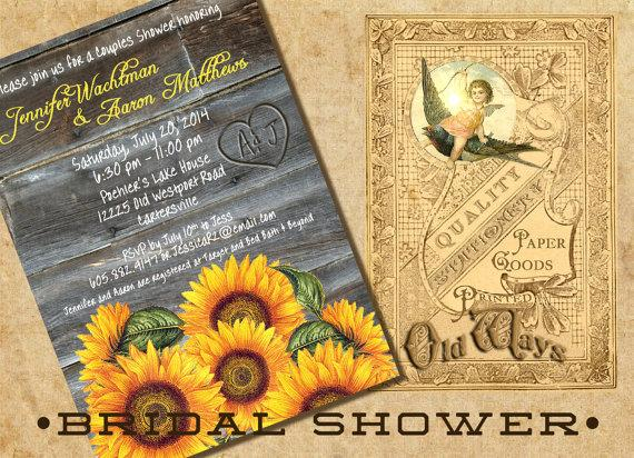 sunflowers rustic wood couples shower invitation  bridal shower, Bridal shower invitations