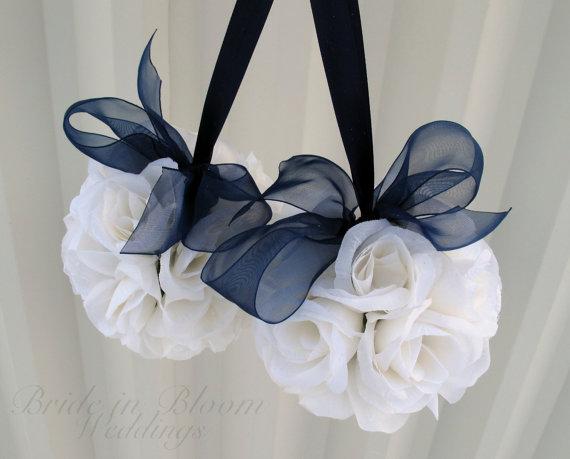 Wedding Flower Pomander Navy Blue Decorations Ceremony Aisle Pew Markers