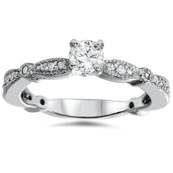 زفاف - Diamond .60CT Vintage Antique Engagement Ring 14 Karat White Gold Size 4-9