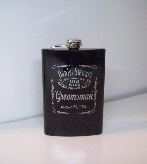 Wedding - 3 Personalized Whiskey Label Groomsmen Gift, Engraved Flask Set w/ Gift Box & Funnel, Stainless Steel Flask, Personalized Best Man Gift