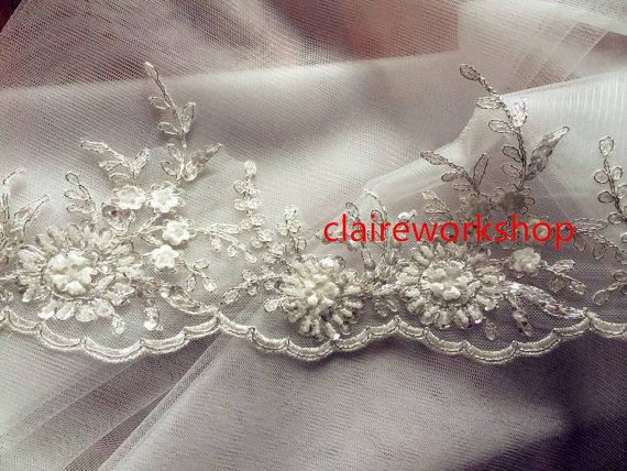 Hochzeit - Custom length design 100% high quality handmade pearl beads lace wedding veil ivory fingertip length floor length church length